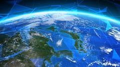 Earth seen from space with futuristic networks. Asia. China, Japan. Stock Footage