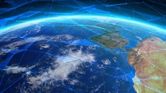 Earth seen from space with futuristic networks. Europe. Stock Footage
