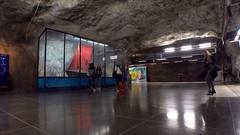 Fridhemsplan. Metro station. Art in the subway. Stockholm. Sweden. 4K. Stock Footage