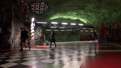 Kungstradgarden. Metro station. Art in the subway. Stockholm. Sweden. 4K. Stock Footage