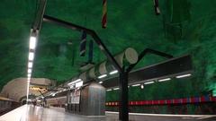 Huvudsta. Metro station. Art in the subway. Stockholm. Sweden. 4K. Stock Footage