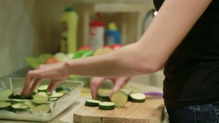 Hand with a knife cut vegetables for frying Stock Footage