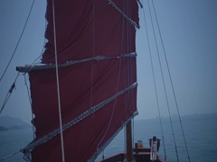 Sail of large ship. Helm of a sailboat. Sailing Boat Yacht. Stock Footage