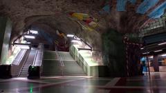 Kungstradgarden. Metro station. Art in the subway. Stockholm. Sweden. 4K. Stock Footage