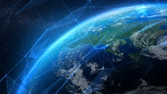 Earth seen from space with futuristic networks. Northern Hemisphere. Stock Footage