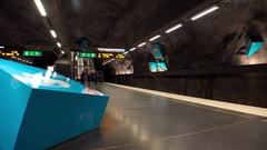 Solna strand. Metro station. Art in the subway. Stockholm. Sweden. 4K. Stock Footage