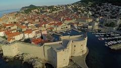 Aerial view of Old Dalmatian Town, Adriatic sea. Flight above Dubrovnik, Croatia Stock Footage
