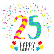 Happy Birthday for 25 year party invitation card Stock Illustration