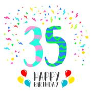 Happy Birthday for 35 year party invitation card Stock Illustration