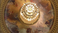 Opulent painted ceiling rotunda, nude maidens on ice, chandelier Stock Footage