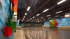 Stadion. Metro station. Art in the subway. Stockholm. Sweden. 4K. Stock Footage