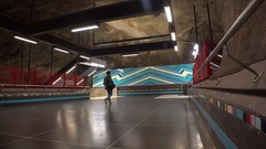 Metro station. Art in the subway. Stockholm. Sweden. 4K. Stock Footage