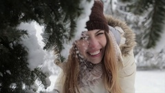 Girl in the snowy forest. Cold winter Stock Footage
