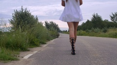 A Girl Goes Into the Distance Stock Footage