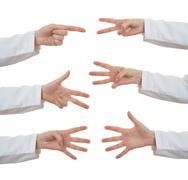 Set of doctor female hand over white isolated background Kuvituskuvat