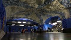 T-Centralen. Metro station. Art in the subway. Stockholm. Sweden. 4K. Stock Footage