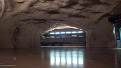 Sundbybergs centrum. Metro station. Art in the subway. Stockholm. Sweden. 4K. Stock Footage