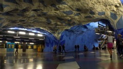 T-Centralen. Metro station. Art in the subway. Stockholm. Sweden. 4K. Stock Footage