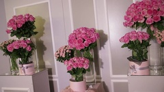 Set of pink roses bouquets in glass vases under rays of light Stock Footage