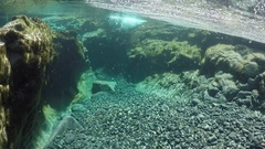 Underwater swimming in the fairy pools on the isle of skye, scotland. Stock Footage
