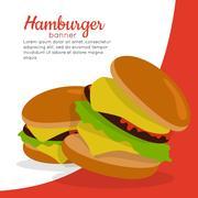 Gamburger Banner. Hamburger with Meat. Junk Food Stock Illustration