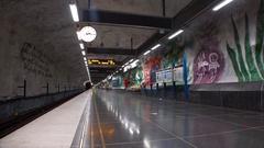 Tensta. Metro station. Art in the subway. Stockholm. Sweden. 4K. Stock Footage