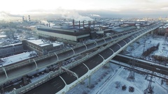 Aerial view of industrial region in the big city in Russia. Highway and smoked Stock Footage