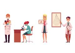 Doctors - pharmacist, laboratory, assistant, oncologist and ophthalmologist Stock Illustration