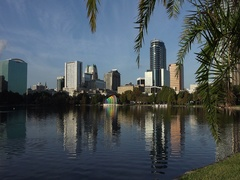 Orlando skyline, downtown, Lake Eola Park Stock Footage