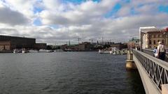 Bridge with crown to Skeppsholmen island, Stockholm, Sweden. 4K. Stock Footage