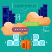 Data Protection Video Web Banner in Flat Style Piirros