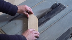 Worker cut parquet in dimension Stock Footage