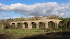 Old railway viaduct Stock Footage