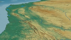Glide over Crystal mountain range - masks. Relief map Stock Footage