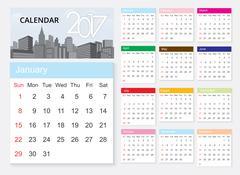 Calendar 2017 template design on urban scene. Stock Illustration