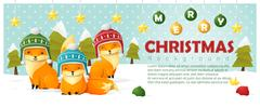 Merry Christmas and Happy New Year background with fox family Stock Illustration