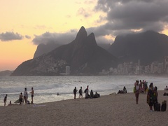 Sunset at Rio beach with Two Brothers mountain in background 4k Stock Footage