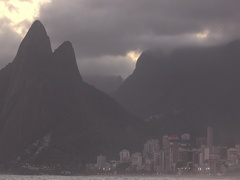 Two brothers mountain in Rio de Janeiro at sunset Stock Footage