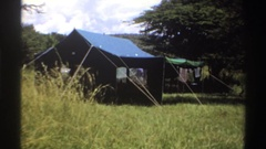 1969: two large canvas tents on a savanna or other grassy area NIGERIA Stock Footage