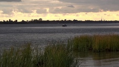 Evening fishing on the River Dnepr. Stock Footage
