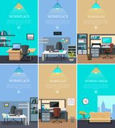 Set of Office Interior Web Banners in Flat Design Stock Illustration