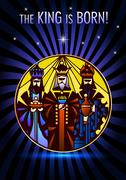 Stylized Biblical Christmas illustration of three wisemen visiting Jesus Stock Illustration