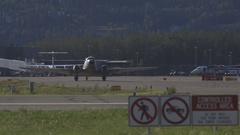 Fairbanks, Alaska. International Airport. Old aircraft on the runway. Stock Footage
