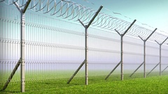 Boundary fence, barbed wire, animation looped Stock Footage