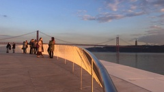 People On Top of Museum of Art, Architecture and Technology of Lisbon Stock Footage