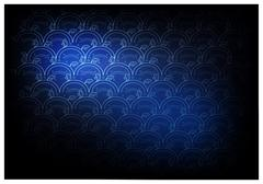 Blue Thai Vintage Wallpaper Background with Wave Pattern Stock Illustration