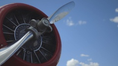 Propeller of old airplane. Stock Footage