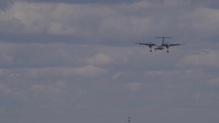 International Airport. Plane landing in airport. Stock Footage