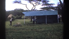 1969: workers done their job in forest for making camp on it NIGERIA Stock Footage