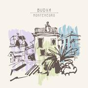Sketch drawing of historical building with palm in Budva Montene Stock Illustration